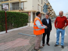 Obras de la red de pluviales en la calle Niza