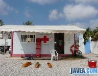 punto de salvamento de la Cruz Roja situado en la playa del montañar
