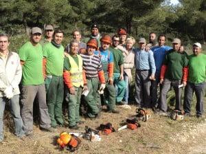 Doris Courcelles con los trabajadores de la segunda brigada social