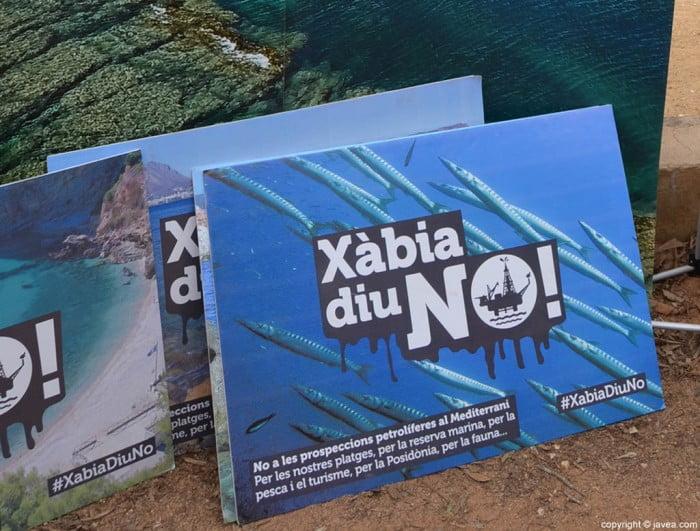 Carteles de Xàbia diu No contra los sondeos petrolíferos en el Mediterráneo