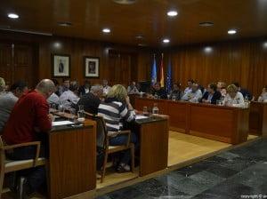 Salón de plenos del Ayuntamiento de Jávea durante la celebración del pleno ordinario de abril