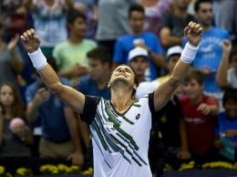 David Ferrer alzando sus brazos al aire