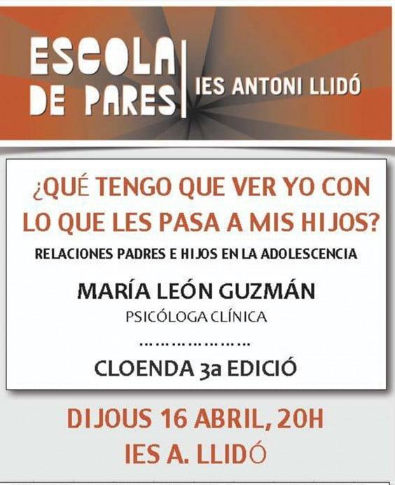 Cartel de la conferencia del IES. Antoni Llidó