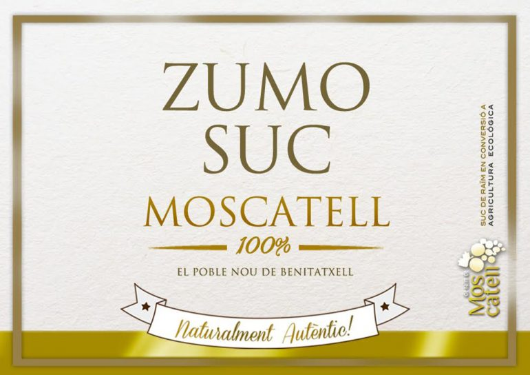 Etiqueta del zumo Moscatell