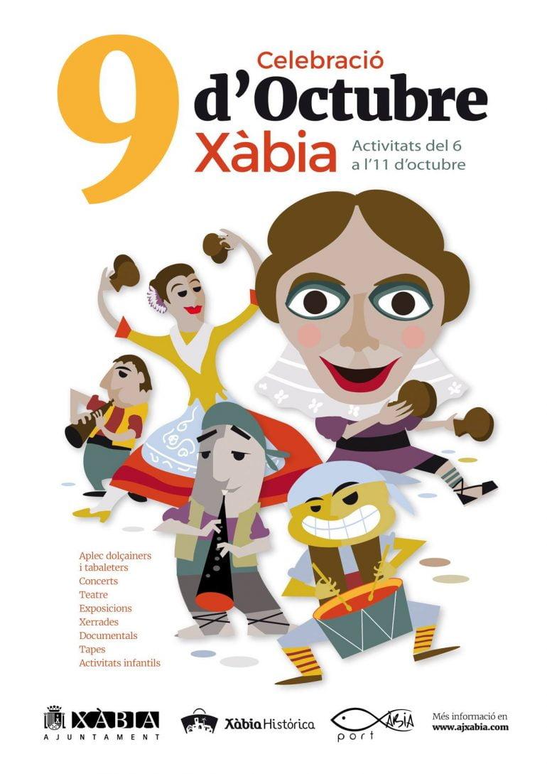 Cartel Actos 9 d`Octubre en Xàbia