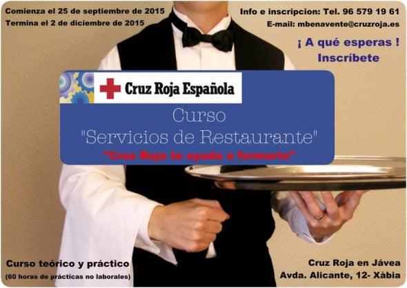 Curso de servicio de restaurante en Cruz Roja Xàbia