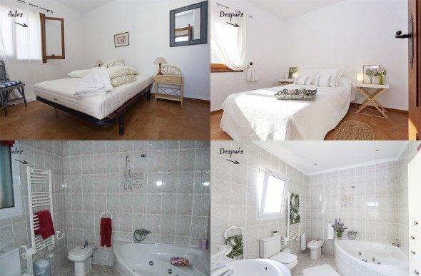 Dormitorio y baños antes y después