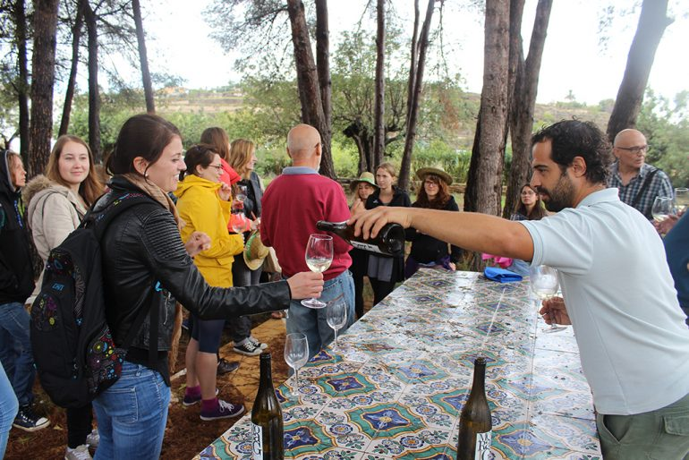Estudiantes germanos probando el vino Moraig