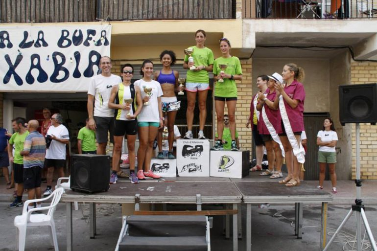 Podium femenino de la carrera de la Peña La Bufa