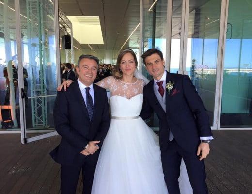 José Chulvi junto a Marta Tornel y David Ferrer