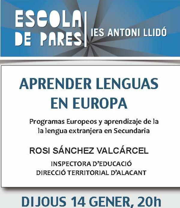 Cartel Escola Pares del IES Antoni Llidó