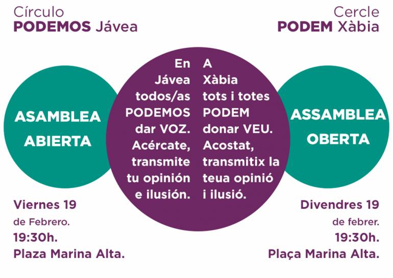 Cartel de la asamblea de Podemos Xàbia