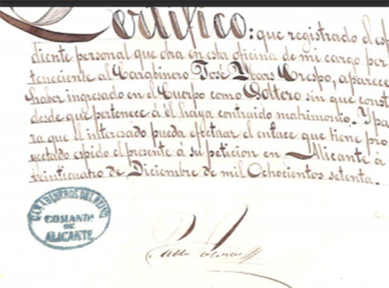 Certificado de los carabineros