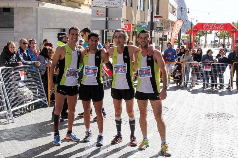 Younes, Soler, Fernández y García en la meta de Calp