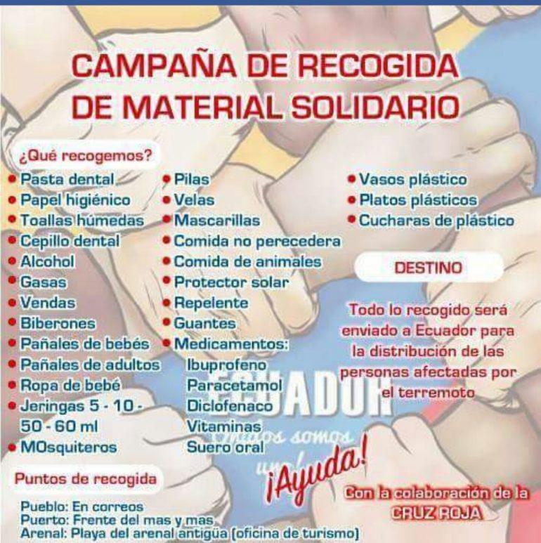 Cartel recogida productos básicos para Ecuador
