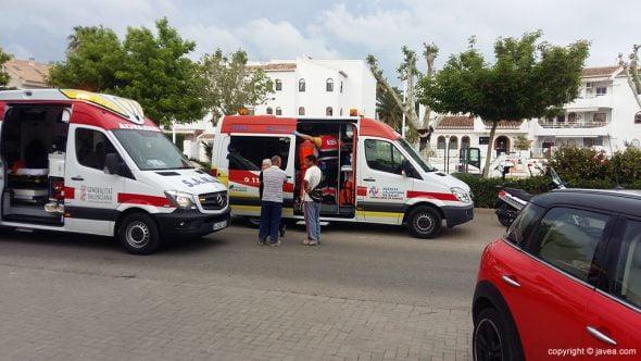 Ambulancias que trasladaron a las heridas