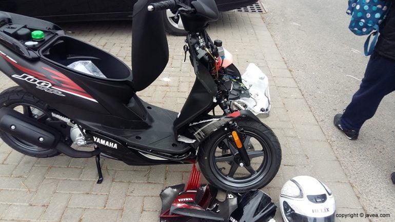 Estado del ciclomotor tras el accidente