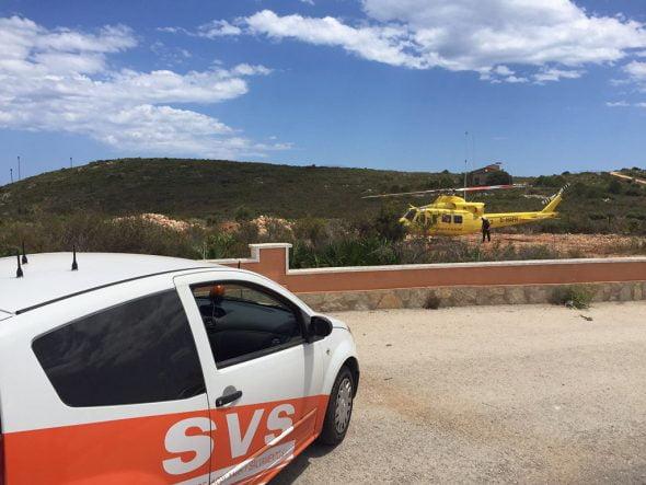 Helicóptero preparado para el rescate