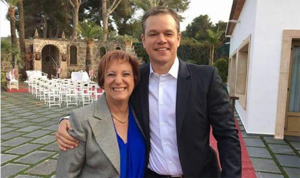 Matt Damon junto a la edil Pilar Zamora