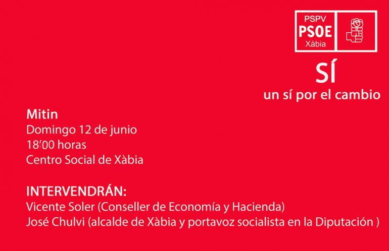 Cartel Miting del PSOE en Xàbia