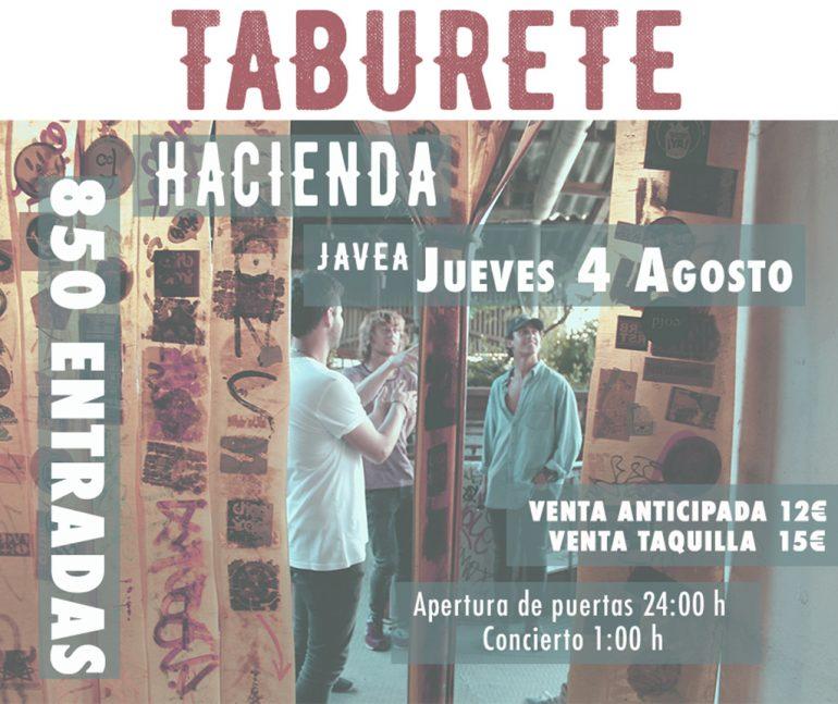 Cartel concierto Taburete en Xàbia