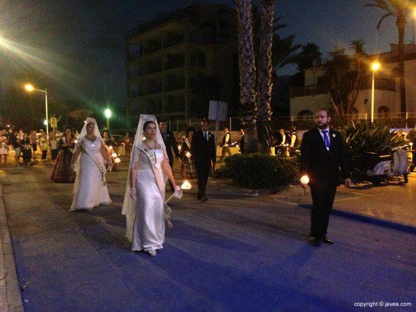 Mayorales en la procesión