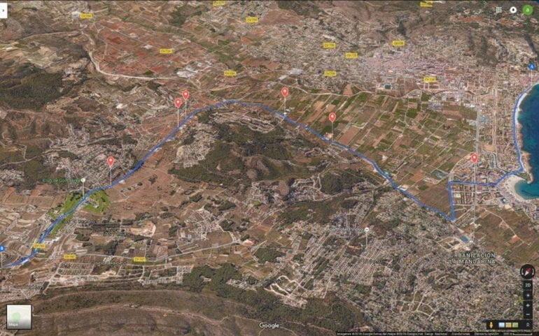 Trazado de la etapa en el término municipal de Xàbia