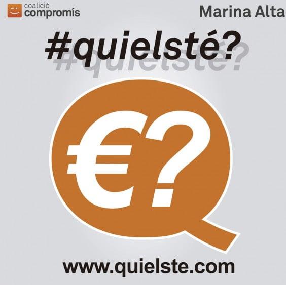 Campanya # Quielsté de Compromís Marina Alta ia la qual se suma Compromís Xàbia per difondre el deute públic