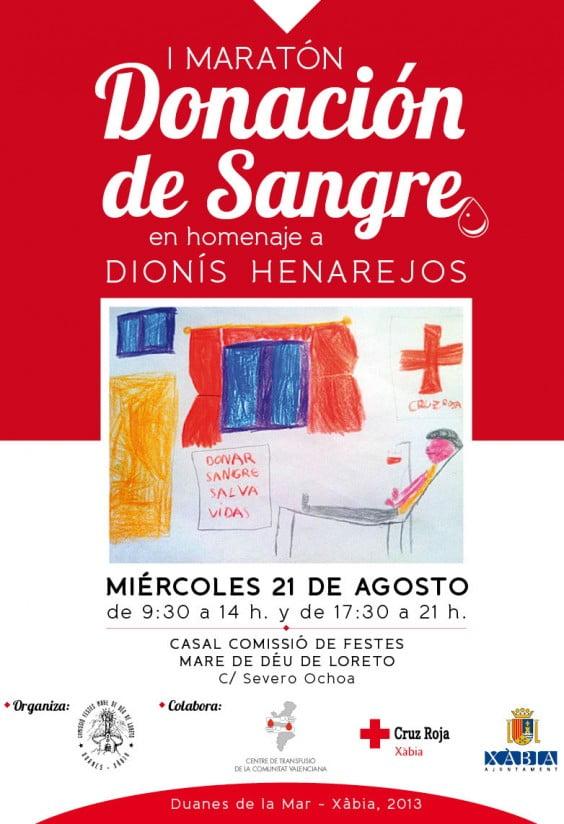 Cartel del I Maratón de Donación de Sangre que se celebrá el 21 de agosto