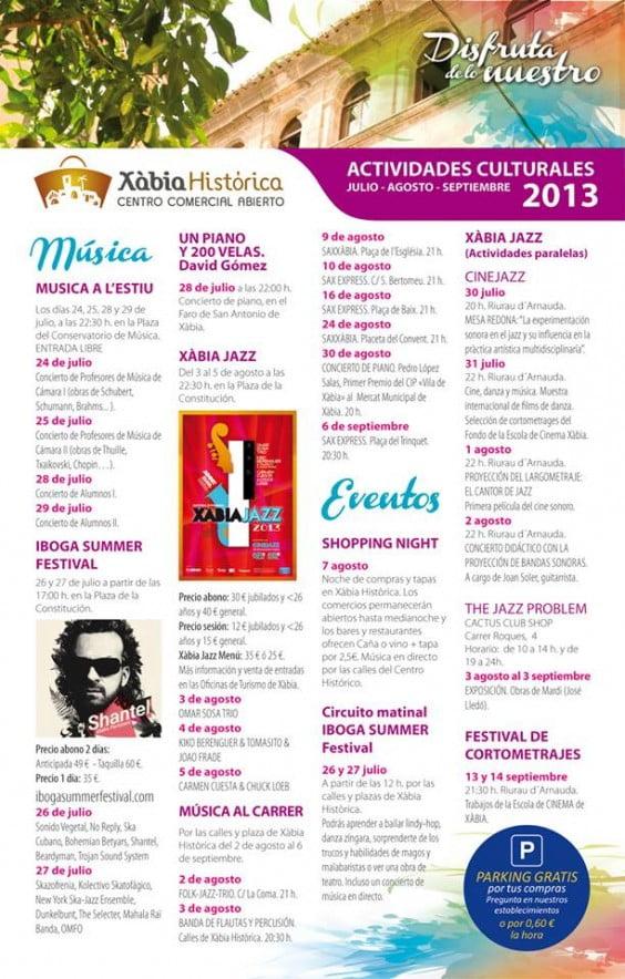 cartel de conciertos y actividades de verano de Xàbia Histórica