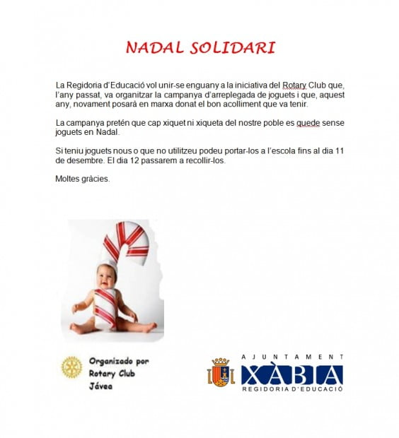 El Club Rotary de Jávea realiza una campaña de recogida de juegues para los niños más necesitados de Jávea.