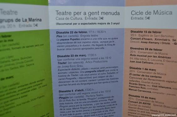 Tríptico de información de los ciclos de música y teatro