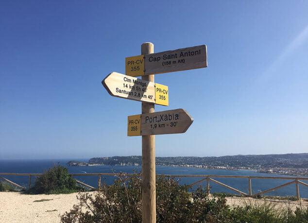 Imagen: Indicaciones de la ruta desde el Cabo de San Antonio