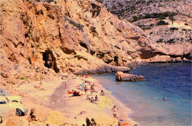 Playa del Tangó en Jávea en los años 60