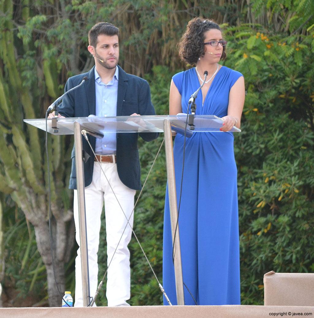 Los presentadores de la proclamación infantil Álvaro Monfort y Andrea Gómez