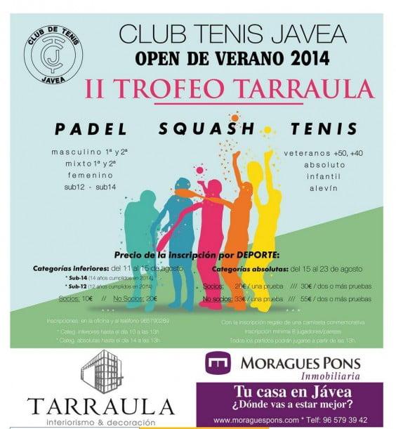 Cartel II Open de Verano Club Tenis Jávea