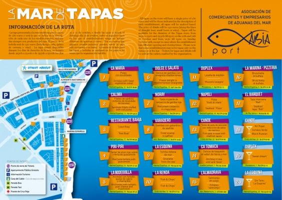 Mapa y carta La Mar de las Tapas