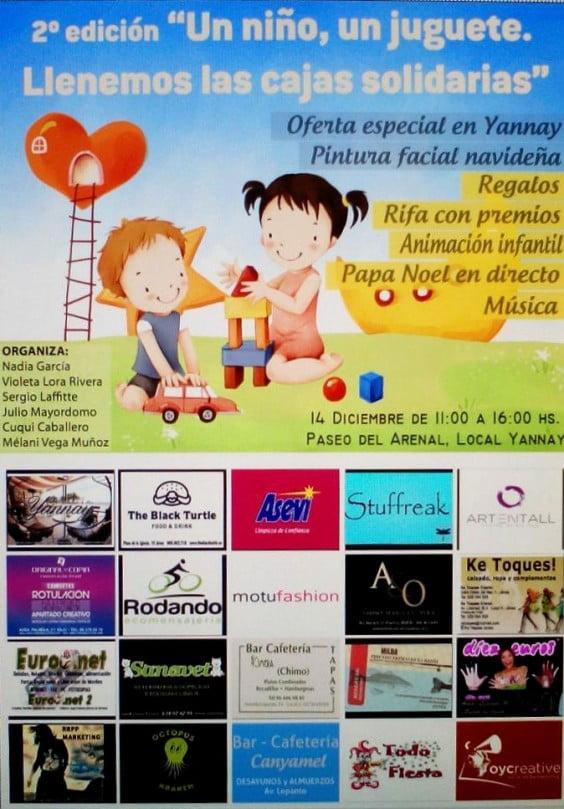 """Cartel Campaña """"Un niño, un juguete, llenemos las cajas solidarias"""""""