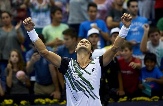 David Ferrer alzando los brazos