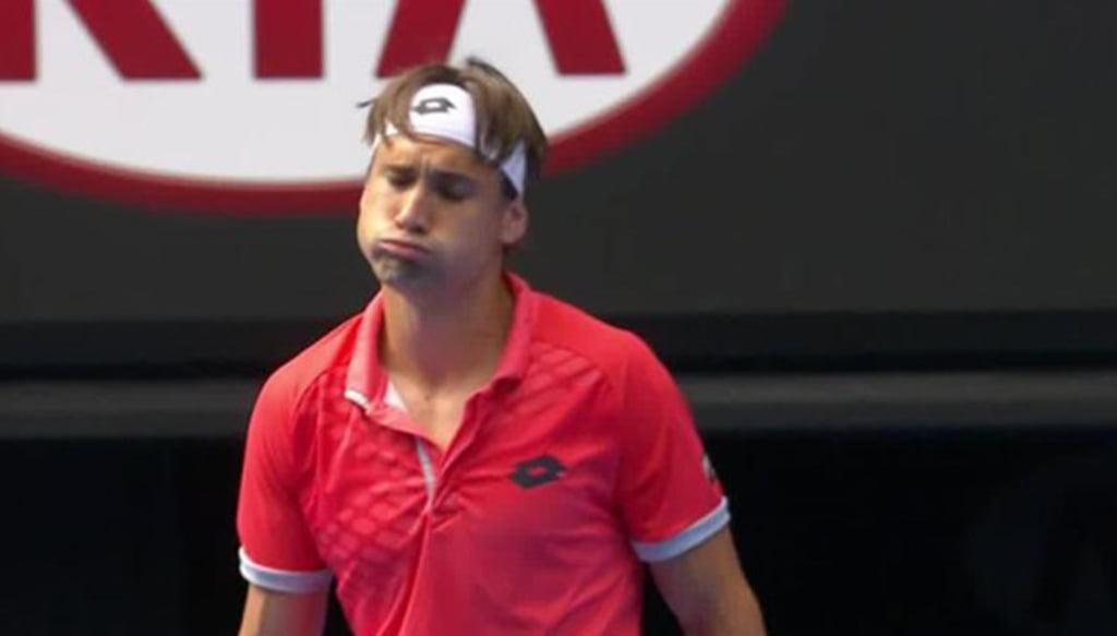 David Ferrer lamentandose por su juego