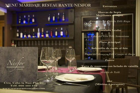Menú de maridaje del Restaurante Nesfor