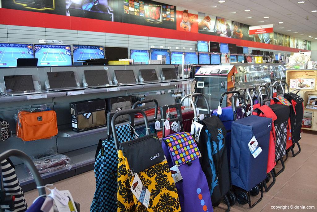 Ordenadores portátiles y carros de la compra