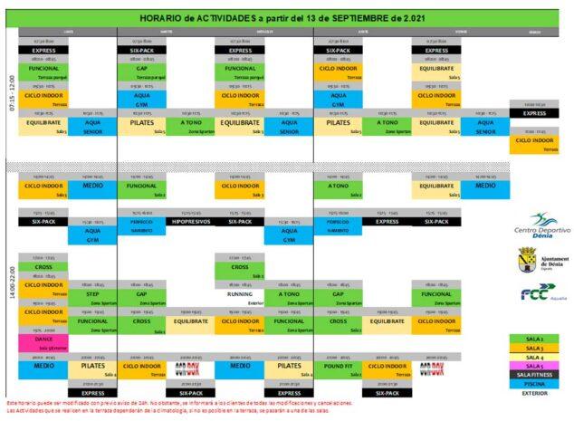Imagen: Horarios actividades - centro deportivo denia