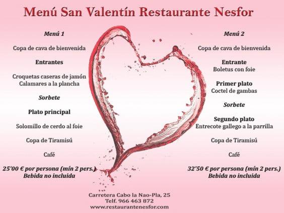 Menú San Valentín Restaurante Nesfor
