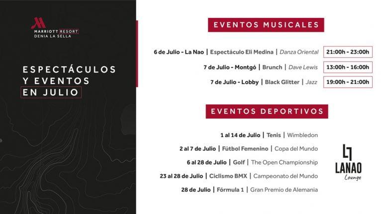 Eventos julio – Hotel Dénia Marriott La Sella Golf Resort & Spa