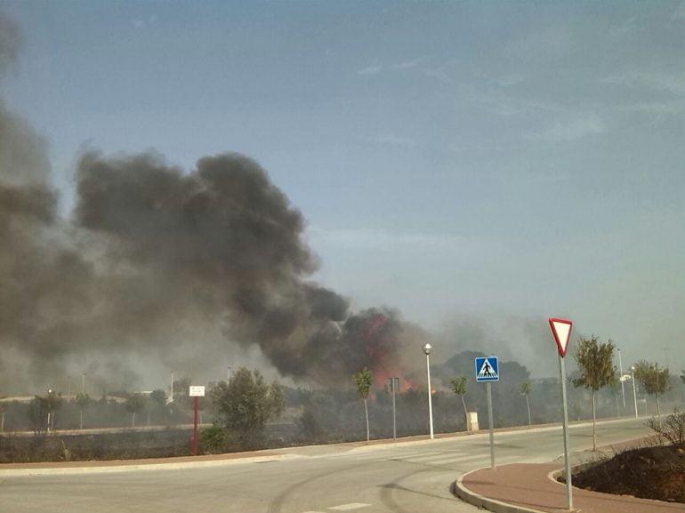 Humo de las parcelas incendiadas