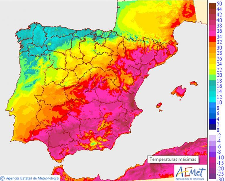 Mapa de España ola de calor