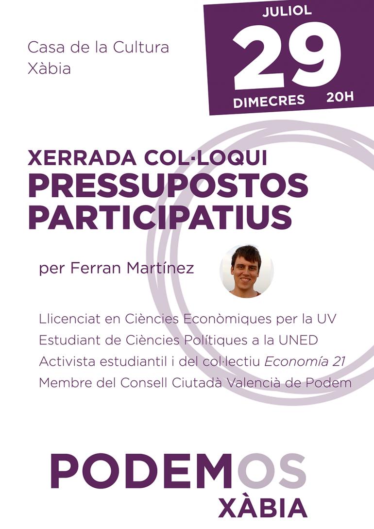 Cartel de la charla coloquio de Ferrán Martínez