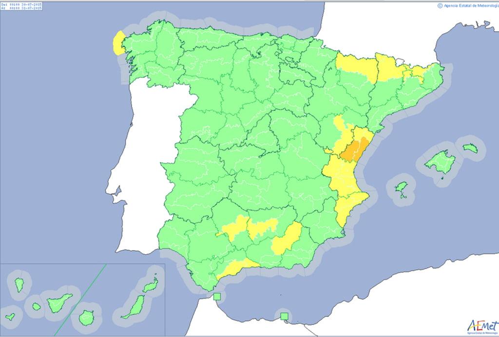 Mapa de previsiónes para Jueves 30 julio