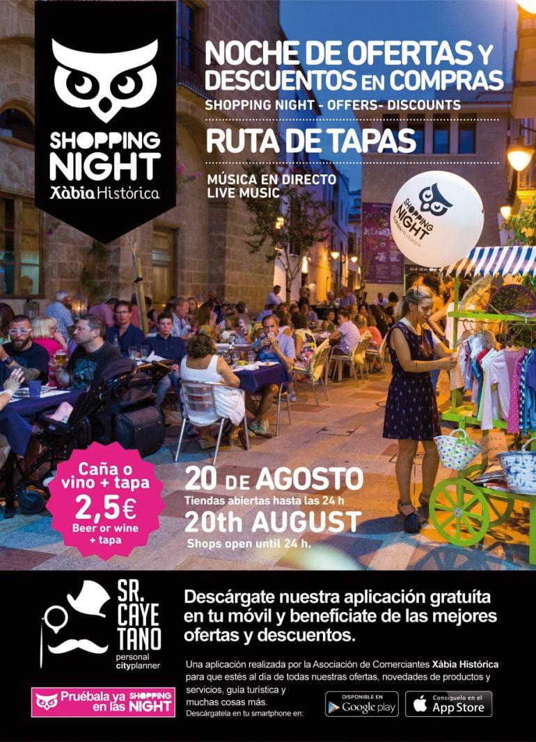 Cartel de la Shopping Night 20 agosto